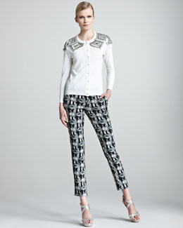 Lela Rose Geometric-Bead Cardigan & Everyday Stretch-Jacquard Pants
