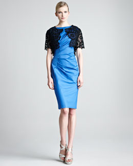 Lela Rose Sleeveless Boat-Neck Dress & Lace Embroidered Bolero