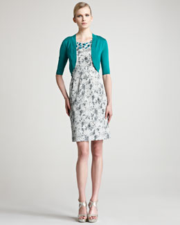 Lela Rose Embroidered Jacquard Sheath Dress & Knit Silk Shrug