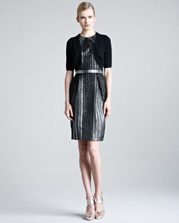 Lela Rose Braided Metallic Organza Dress & Knit Silk Shrug
