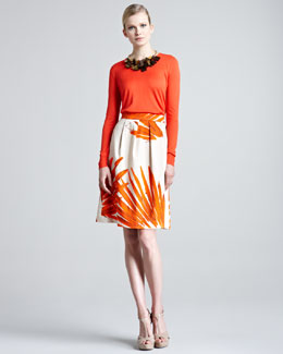 Lela Rose Silk Sweater & Brush-Print Skirt