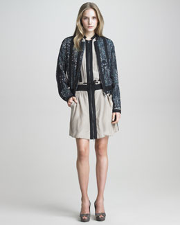 See by Chloe Digital-Print Silk Jogging Jacket & Drawstring-Waist Silk Dress