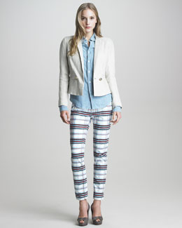 See by Chloe Paper-Collar Linen Blazer, Button-Up Denim Blouse & Check-Print Straight-Leg Jeans