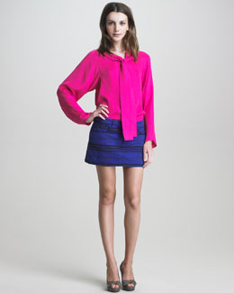 See by Chloe Long-Sleeve Blouse & Five-Pocket Mini Skirt