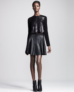 Rag & Bone Leather-Trim Cropped Top & Renard Raw-Edge Leather Skirt