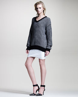T by Alexander Wang Checkered Float Tunic & Draped Shiny Jersey Skirt