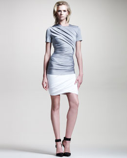 T by Alexander Wang Draped Shiny Jersey Top & Skirt