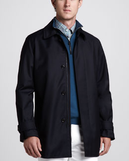 Ermenegildo Zegna Elements City Jacket, Suede-Trim Zip Sweater & Plaid Button-Down Shirt
