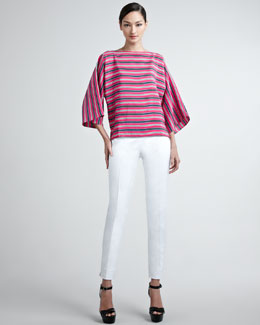 Ralph Lauren Black Label Vivian Striped Silk Blouse & Farren Cotton Sateen Pants