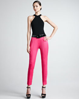 Ralph Lauren Black Label Rachel Cutaway Knit Top & Farren Cotton Sateen Pants
