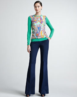 Ralph Lauren Black Label Paisley Silk-Paneled Cashmere Sweater & Allegra Boot-Cut Gabardine Pants