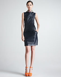 Ralph Lauren Black Label Sleeveless Leather-Front Cashmere Sweater, Cassy Leather Skirt & Square Paisley Scarf