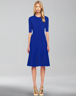 Michael Kors  Featherweight Wool Shrug & Wool-Crepe Flared Dress