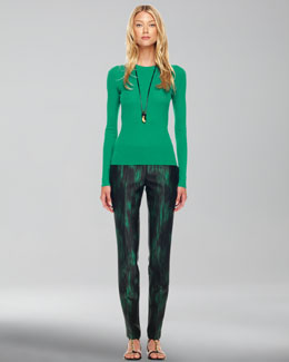 Michael Kors  Featherweight Cashmere Sweater & Printed Slim Pants