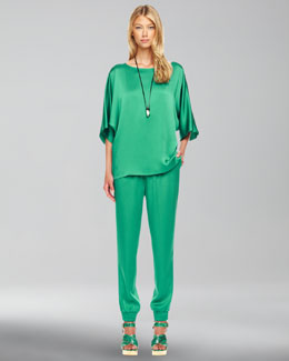 Michael Kors  Boat-Neck Charmeuse Top & Pajama Pants