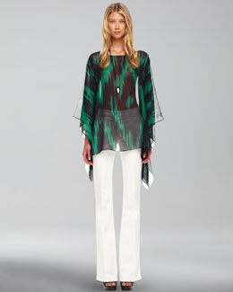 Michael Kors  Printed Sheer Tunic & Boot-Cut Jeans
