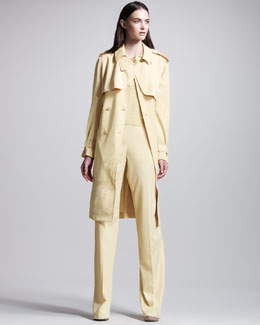 Bottega Veneta Fluid Gabardine Trenchcoat, Three-Quarter Polo Sweater & High-Waist Pants