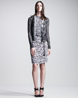 Bottega Veneta Intarsia-Knit Cardigan, Smocked Abstract-Print Dress & Chain Belt