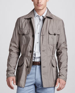 Ermenegildo Zegna Safari Jacket & Striped Sport Shirt