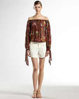 Gucci Floral-Print Gathered-Neck Top & Linen Canvas Holiday Shorts