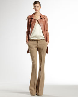Gucci Ostrich Coat, Stretch Satin Tank Top & Linen Canvas Skinny Flare Pants
