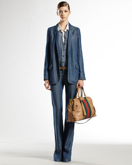 Gucci Stone-Washed Denim Blazer, Icon Horsebit-Print Silk 70s Shirt & New 70s Pants