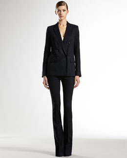 Gucci Flora-Lined Stretch Jacket, Stretch Satin Tank Top & Stretch Skinny Flair Pants