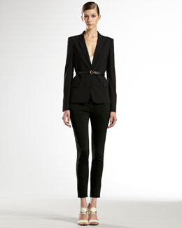 Gucci One-Button Stretch Blazer, Satin Tank Top & Skinny Pants