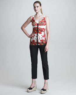 Jean Paul Gaultier Ruched Rose-Print Tank & Lace-Striped Slim Pants