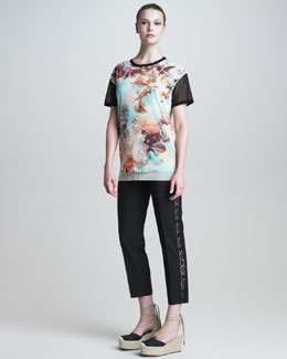 Jean Paul Gaultier Floral-Print T-Shirt & Lace-Striped Slim Pants