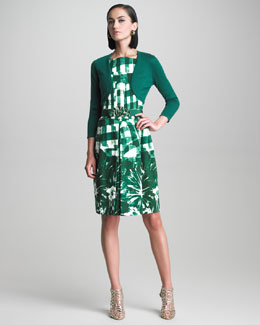 Oscar de la Renta Check and Floral Print Dress & Bolero