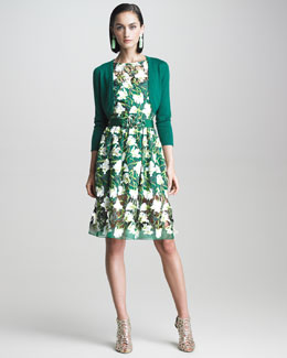 Oscar de la Renta Tulip Embroidered Organza Dress & Bolero