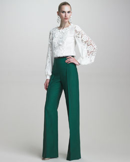 Oscar de la Renta Blouse with Embroidered Lace & Twill High-Waisted Pants