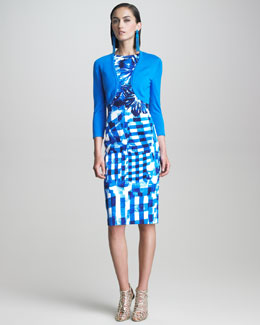 Oscar de la Renta Cashmere-Silk Shrug & Floral Gingham Dress
