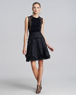 Oscar de la Renta Ruffle Chiffon Blouse & Taffeta Lace Party Skirt