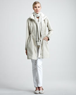 Loro Piana Windmate Storm Trench, Striped Sweater & Skinny Jeans