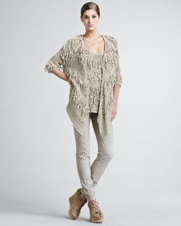 Donna Karan Ribbon Draped Cardigan, Tank & Seamed Stretch-Cotton Leggings