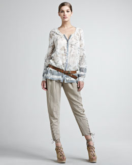 Donna Karan Vintage Floral-Print Blouse, Lace-Up Pants & Leather Hook Belt