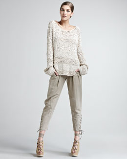 Donna Karan Ribbon Off-the-Shoulder Top & Vintage Lace-Up Pants
