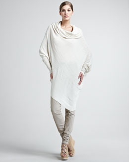 Donna Karan Twisted Rib-Knit Sweater & Seamed Stretch-Cotton Leggings