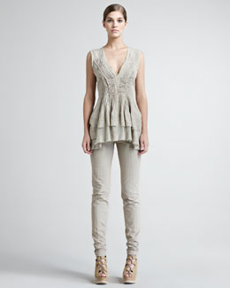 Donna Karan Vintage Pintucked Tunic & Seamed Stretch-Cotton Leggings