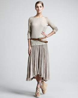 Donna Karan Ribbed Bateau-Neck Top, Georgette Broomstick Skirt & Leather Hook Belt