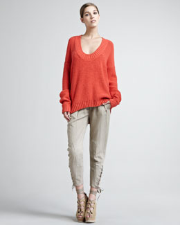 Donna Karan Alpaca-Blend Chainette Sweater & Vintage Lace-Up Pants