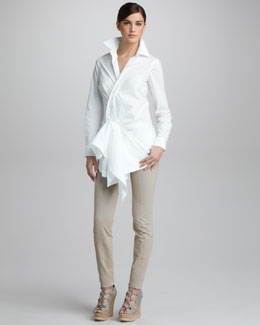 Donna Karan Paper Cotton Side-Draped Tunic & Seamed Stretch-Cotton Leggings