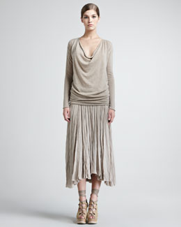 Donna Karan Drape-Neck Cashmere Top & Georgette Broomstick Skirt