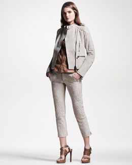 Belstaff Python Moto Jacket, Short-Sleeve Leather Blouse & Python Moto Pants