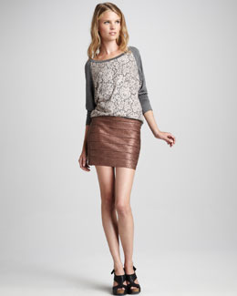 Haute Hippie Lace-Front Slub Top & Metallic Bandage Skirt