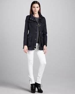Burberry London Waxed Cotton Military Jacket & Skinny Ankle-Zip White Jeans