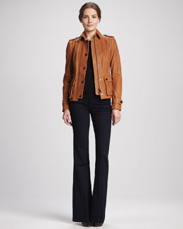 Burberry London Short Leather Jacket & Flared Stretch Jeans