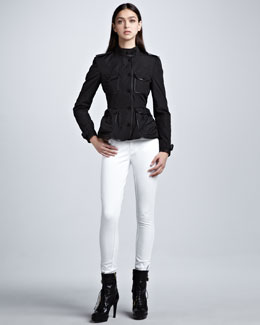 Burberry London Leather-Trim Taffeta Shirt Jacket & Skinny Ankle-Zip White Jeans